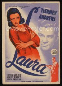 6w065 LAURA Spanish herald '46 different Soligo art of Dana Andrews & sexy Gene Tierney, Preminger