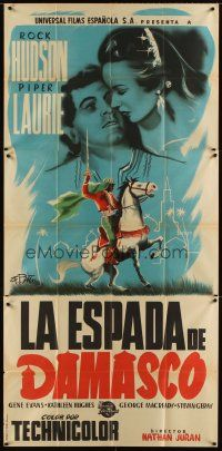 6w071 GOLDEN BLADE Spanish 39x82 '53 different artwork of Rock Hudson & Piper Laurie!