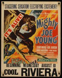 6w007 MIGHTY JOE YOUNG jumbo WC '49 first Ray Harryhausen, great art of ape rescuing girl in tree!