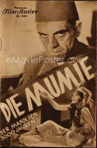 6w040 MUMMY Austrian program '34 Boris Karloff, Zita Johann, classic Universal horror, different!