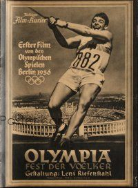 6w033 OLYMPIAD German program '38 Leni Riefenstahl's 1936 Munich Olympics documentary!