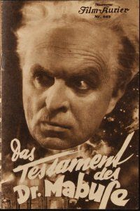 6w039 TESTAMENT OF DR. MABUSE Austrian program '33 Fritz Lang's psychotic criminal genius!