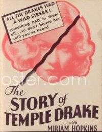 6w054 STORY OF TEMPLE DRAKE herald '33 sexy bad girl Miriam Hopkins, from William Faulkner novel!