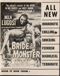 6w056 BRIDE OF THE MONSTER pressbook '56 Ed Wood, art of Bela Lugosi carrying sexy girl!