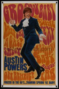 7c023 AUSTIN POWERS: INT'L MAN OF MYSTERY teaser 1sh '97 Mike Myers is frozen in the 60s!