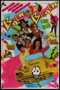 7c028 BACK TO THE BEACH 1sh '87 Avalon & Funicello w/Pee-Wee Herman, rocker Stevie Ray Vaughan!