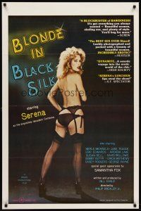 7c056 BLONDE IN BLACK SILK 1sh '79 Ron Jeremy, image of sexy Serena in lingerie!