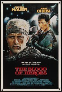 7c057 BLOOD OF HEROES 1sh '89 E. Sciotti artwork of football players Rutger Hauer, Joan Chen!