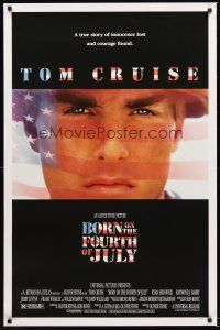 7c067 BORN ON THE FOURTH OF JULY DS 1sh '89 Oliver Stone, great patriotic image of Tom Cruise!