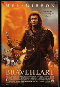 7c069 BRAVEHEART advance DS 1sh '95 cool image of Mel Gibson as William Wallace!