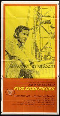 7m006 FIVE EASY PIECES int'l 3sh '70 great close up of Jack Nicholson, directed by Bob Rafelson!