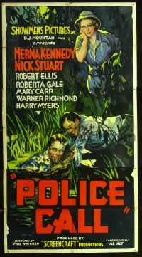 7m009 POLICE CALL 3sh '33 Nick Stuart, who looks like Bruce Hershenson, saves man in swamp!