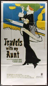 7m010 TRAVELS WITH MY AUNT 3sh '72 from Graham Greene's novel, cool Art Nouveau-style art!