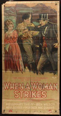 7m011 WHEN A WOMAN STRIKES 3sh '19 stone litho of Snidely Whiplash-like guy threatening couple!