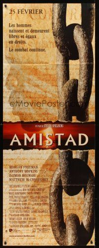 7m039 AMISTAD French door-panel '98 Morgan Freeman, Steven Spielberg, silhouette & chains design!