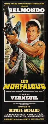 7m046 LES MORFALOUS French door-panel '84 art of Jean-Paul Belmondo with machine gun by Casaro!
