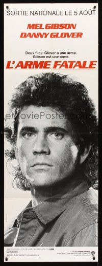 7m047 LETHAL WEAPON French door-panel '87 great different close image of cop Mel Gibson!