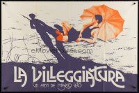 7m017 BLACK HOLIDAY French 31x47 '73 Marco Leto's La villeggiatura, cool artwork!