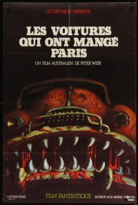 7m019 CARS THAT ATE PARIS French 31x47 '74 early Peter Weir, wild art of killer automobile!