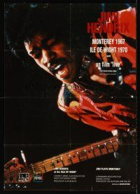 7m024 JIMI PLAYS MONTEREY French 31x47 '86 great close up of Hendrix playing guitar & singing!