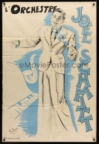 7m025 JOEL SCHMITT French 32x47 music poster '50s full-length art of the musician by A. Dieb!