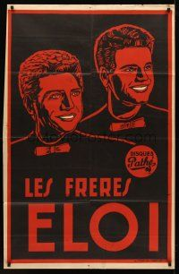 7m027 LES FRERES ELOI French 30x47 music poster '50s artwork of the singing brothers!