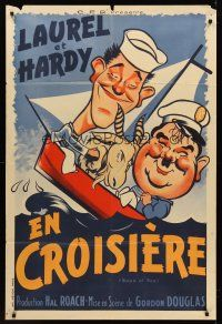 7m032 SAPS AT SEA French 31x47 R50s different art of Stan Laurel & Oliver Hardy, Hal Roach