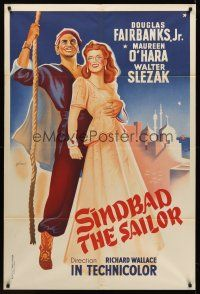 7m034 SINBAD THE SAILOR French 31x47 R1960s Grinsson art of Fairbanks & Maureen O'Hara!