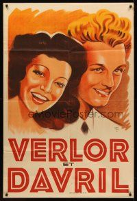 7m036 VERLOR ET DAVRIL French 32x47 music poster '50s artwork of the musical duet by Harfort!