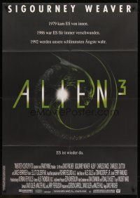 7m068 ALIEN 3 German 33x47 '92 Sigourney Weaver, 3 times the danger, 3 times the terror!