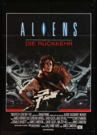 7m069 ALIENS German 33x47 '86 James Cameron,there are some places in the universe you don't go alone