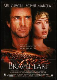 7m074 BRAVEHEART German 33x47 '95 different image of Mel Gibson as William Wallace!