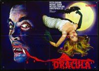 7m093 HORROR OF DRACULA German 33x47 R60s Hammer, cool different art of vampire & sexy girl