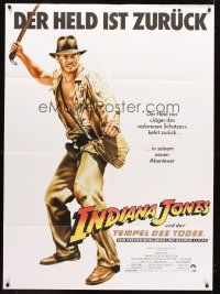 7m095 INDIANA JONES & THE TEMPLE OF DOOM German 36x49 '84 different art of Harrison Ford!