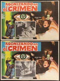 7m591 AGONIZANDO EN EL CRIMEN 2 17x25 Mexican LCs '68 Dying in the Crime, cool border art!