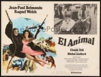 7m623 ANIMAL Mexican LC '77 art + photo of Jean-Paul Belmondo & sexy Raquel Welch!