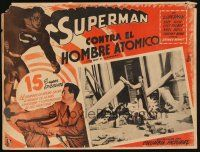 7m624 ATOM MAN VS SUPERMAN Mexican LC '50 Kirk Alyn in costume rescuing people!