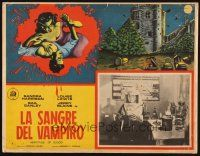 7m630 BLOOD OF DRACULA Mexican LC '57 border art of female vampire attacking, Heritage of Blood!