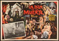 7m680 ISLAND OF THE DOOMED 17x24 Mexican LC '66 Mel Welles's La Isla de la muerte, cool border art!