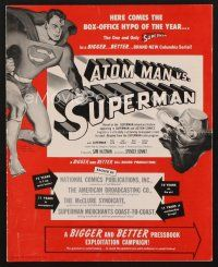 7m349 ATOM MAN VS SUPERMAN pressbook '50 DC Comics serial, Kirk Alyn takes out the trash!