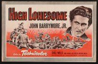 7m397 HIGH LONESOME pressbook '50 different art of John Barrymore Jr.!