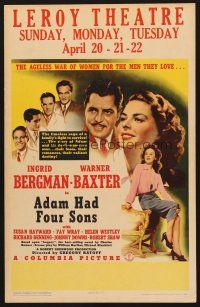 7m126 ADAM HAD FOUR SONS WC '41 sultry Ingrid Bergman, Warner Baxter, sexy Susan Hayward!