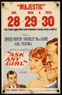 7m130 ASK ANY GIRL WC '59 David Niven finds why gentlemen prefer Shirley MacLaine!