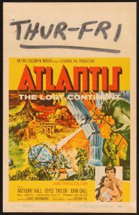7m131 ATLANTIS THE LOST CONTINENT WC '61 George Pal underwater sci-fi, cool fantasy art!