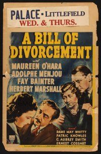 7m141 BILL OF DIVORCEMENT WC '40 Maureen O'Hara, Adolphe Menjou, Fay Bainter, Herbert Marshall