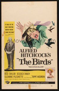 7m142 BIRDS WC '63 Alfred Hitchcock classic horror, art of Tippi Hedren attacked by birds!