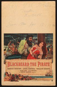 7m143 BLACKBEARD THE PIRATE WC '52 art of Robert Newton in the title role & sexy Linda Darnell!