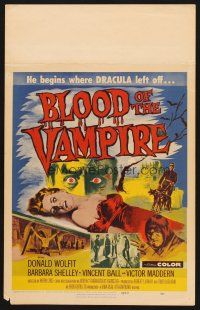 7m145 BLOOD OF THE VAMPIRE WC '58 he begins where Dracula left off, art of monster & sexy girl!
