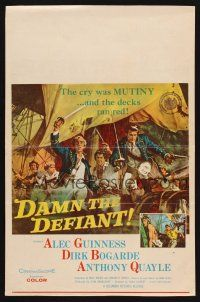 7m168 DAMN THE DEFIANT WC '62 art of Alec Guinness & Dirk Bogarde facing a bloody mutiny!
