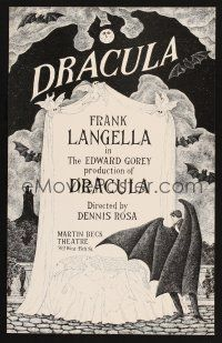7m178 DRACULA stage play WC '77 cool vampire horror art by producer Edward Gorey!
